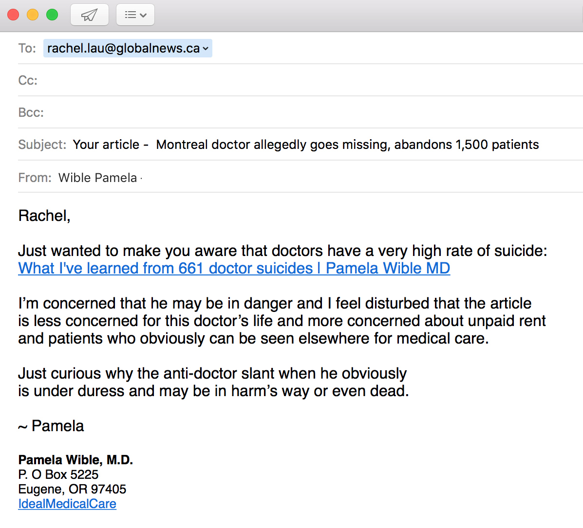 Email-Reporter-Doctor-Bashing