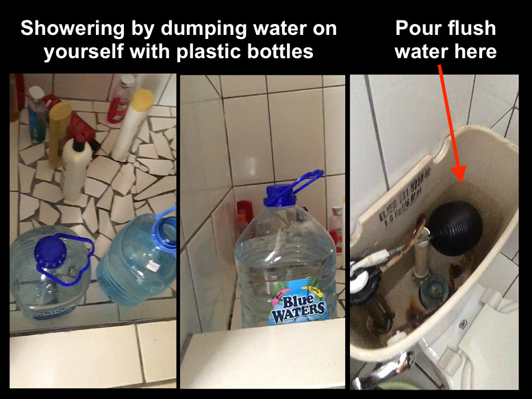 Flushing toilet water