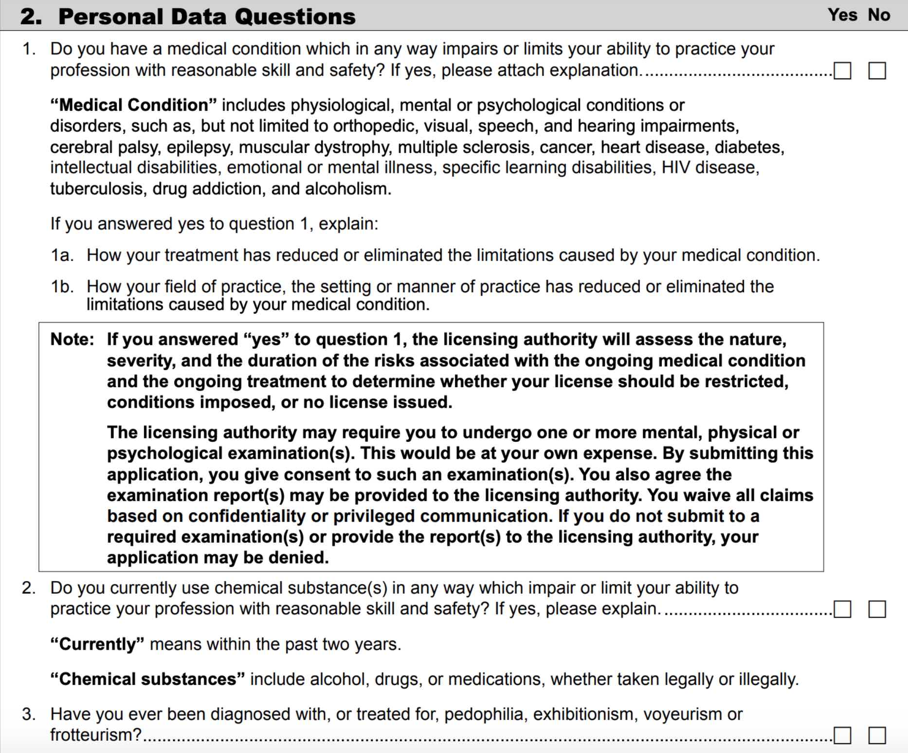 Washington Medical Board Licensing Application
